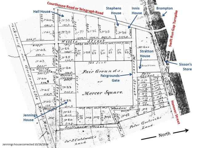 Slide 3 - Corrected copy of Caldwell Tract 1856. Change to Jennings house location.