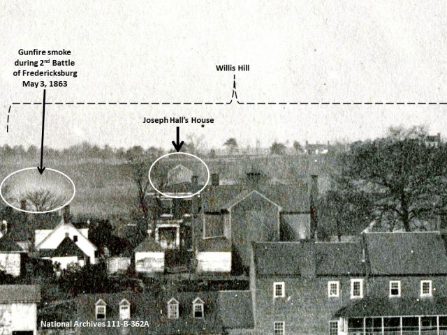 Enlargement of 'Fredericksburg, from near Lacy House' highlighting the location of Joseph Hall's house