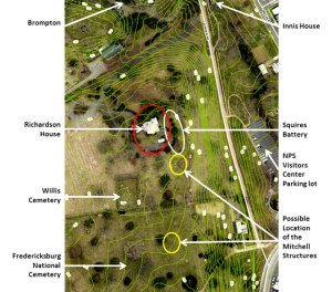 Topographical view of Willis Hill. The Richardson House is circled in RED.
