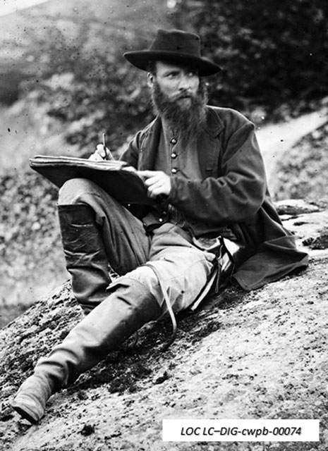 Alfred R. Waud portrait taken at Gettysburg, 1863