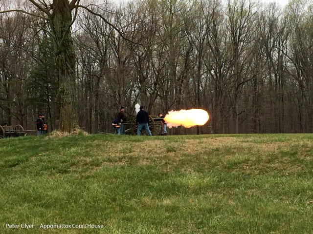 Cannon firing as part of US Artillery demonstration on April 10th, 2015