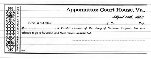Sample Appomattox Parole Pass