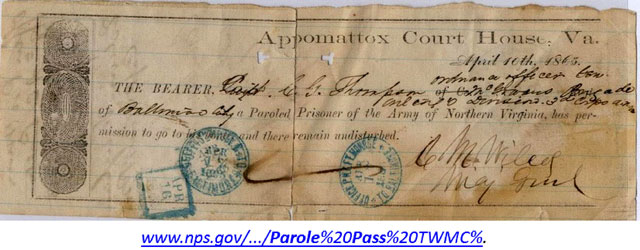Parole pass issued to Captain Charles Gratiot Thompson at Appomattox