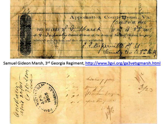 The parole pass issued to Samuel Gideon Marsh.