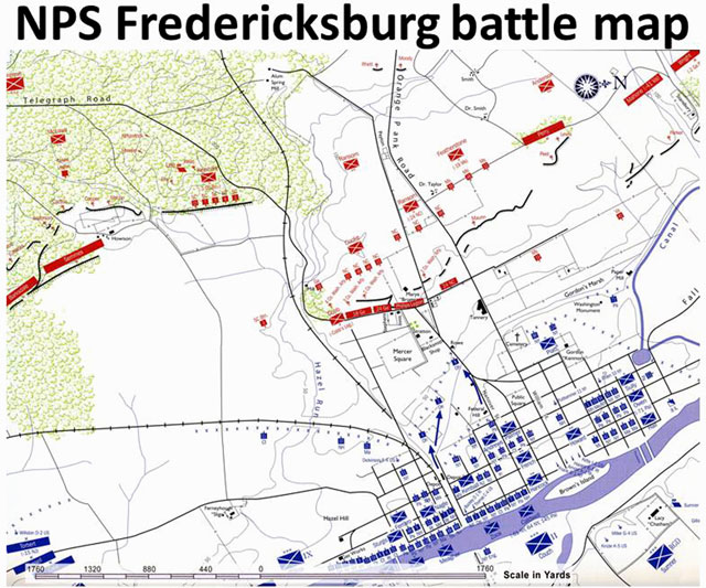 Selected portion of the National Park Service map of Battle of Fredericksburg