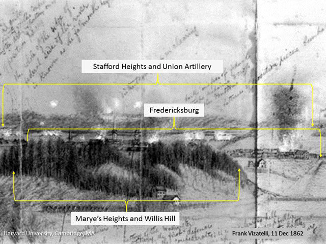 A portion of the Frank Vizitelli drawing sketched from Lee's Hill on December 11, 1862 during the Union bombardment of the city of Fredericksburg