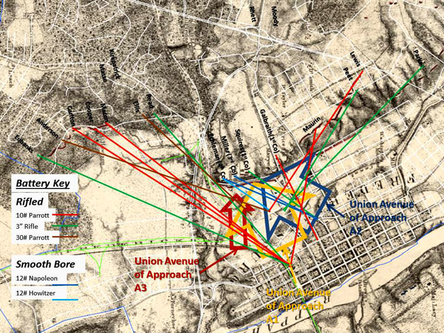 Michler 1867 map annotated with Union Avenues of Approach and possible Confederate defensive artillery fire.