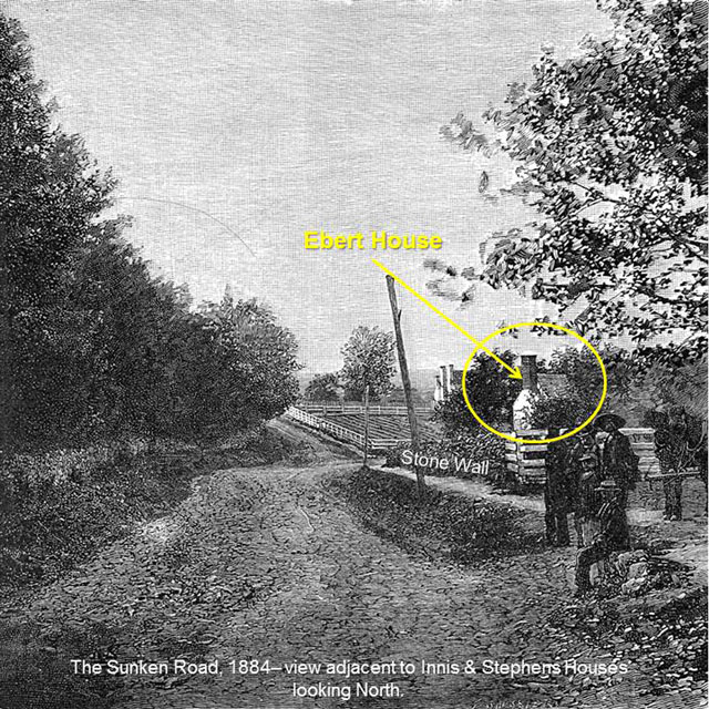 1884 sketch of the Sunken Road looking north from the vicinity of the Innis and Stephens houses. Note the Ebert house circled in yellow.