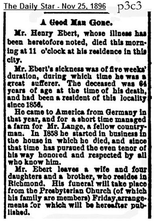 Henry August Ebert's obituary from the Daily Star.