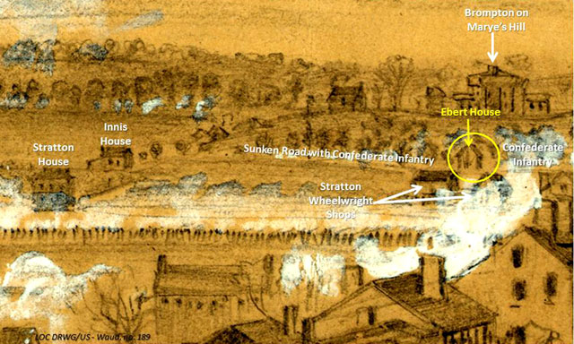 A portion of the A. Waud 1862 battle panorama. The Ebert house and barn are highlighted in yellow.
