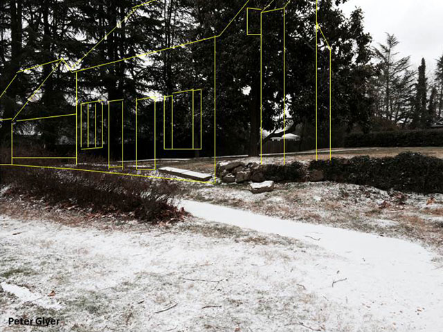 Current view of the land upon which the Ebert house and barn stood. An outline of what these structures might have looked like is in yellow. Compare with photo #1 above.