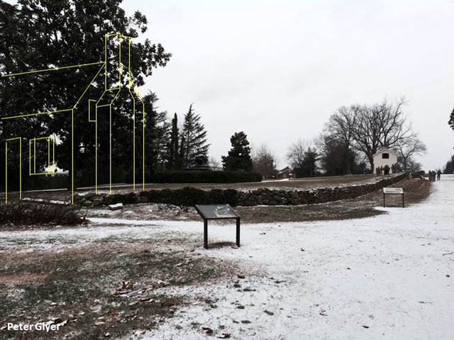 Current view of Sunken Road with sketch of the Ebert house on the left. The Innis house in the background.