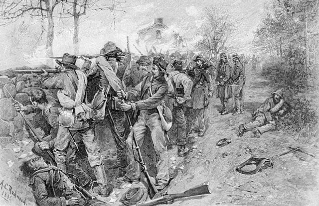 AC Redwood 1886 shetch of Confederate troops during the fighting of the Battle of Fredericksburg in the Sunken Road.