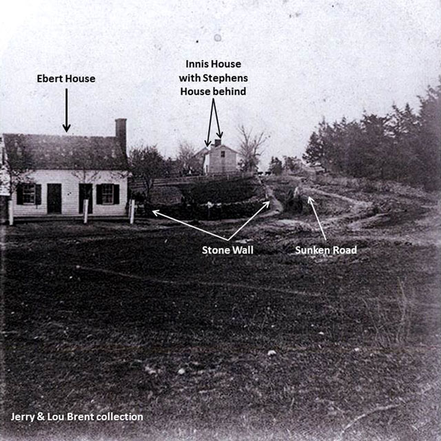 Photo circa 1870/80's of the Ebert house showing the sunken Road. The Innis and Stephens houses are in the background.
