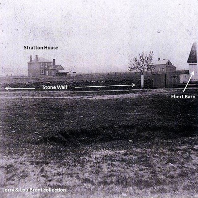 Photo #3, circa 1870/80's with a corner of the Ebert barn on the right side. The Stratton house is in the left background. Note the continuation of the stone wall in the middle foreground.