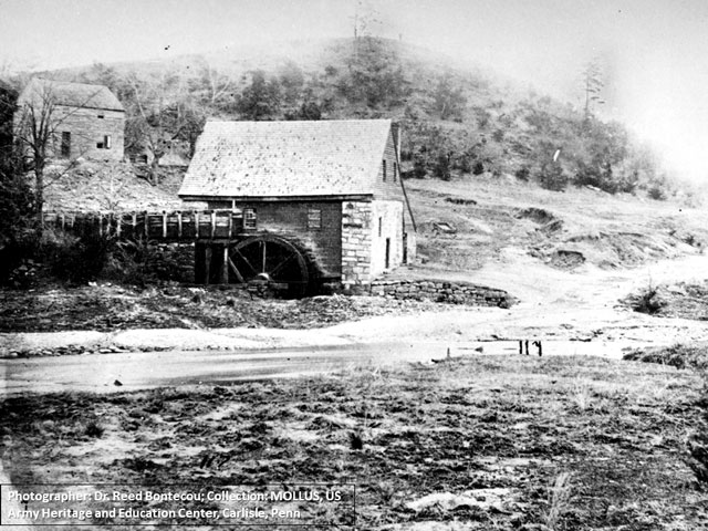 Photo of Howison's Mill taken in April 1866.