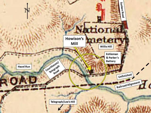 Extract of Michler 1867 map at Fredericksburg, Va.